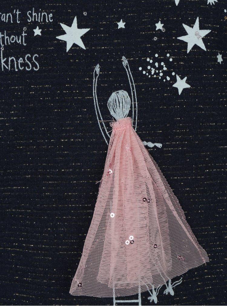 Tmavě modrá vzorovaná holčičí mikina s hvězdami 5.10.15.