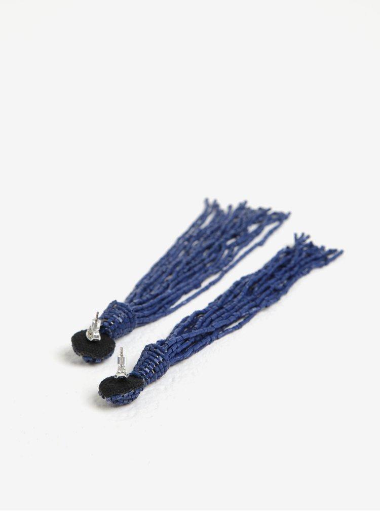 Tmavě modré korálkové náušnice Pieces Veronica