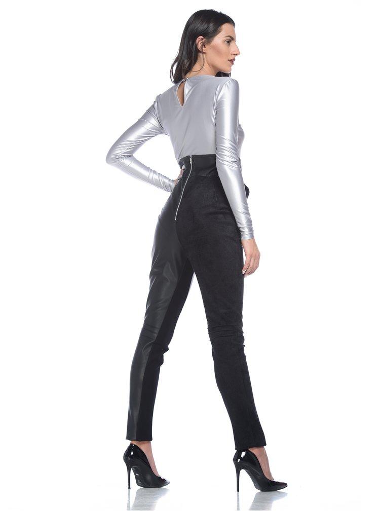 Pantaloni negri asimetrici din piele ecologica si catifea cu talie inalta - Alexandra Ghiorghie Sores