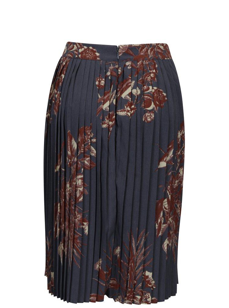 Šedá květovaná plisovaná sukně VILA Pima