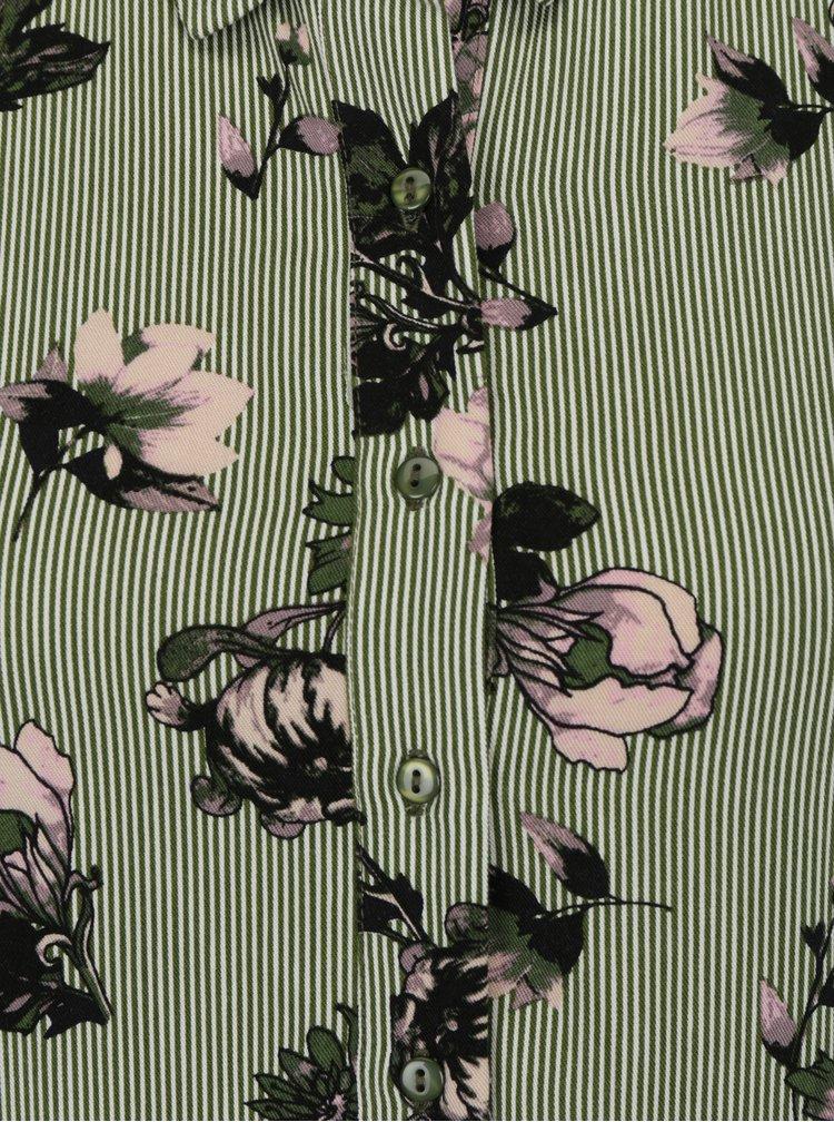 Zelené květované košilové maxišaty VILA Valene