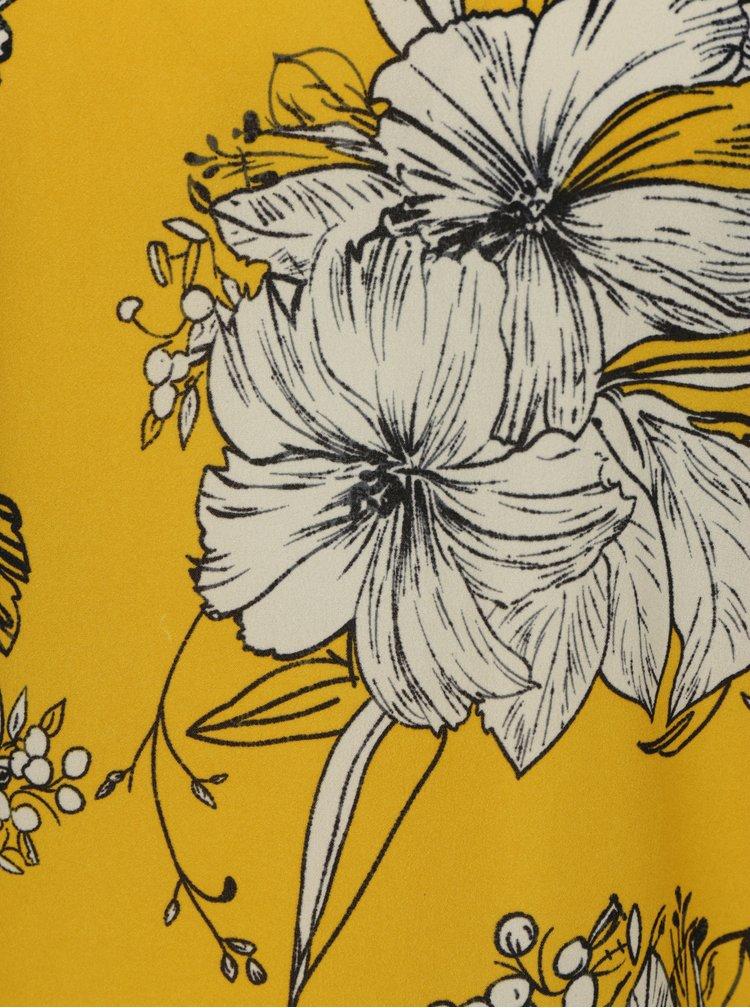 Žlutá květovaná halenka se stojáčkem VILA Floppy