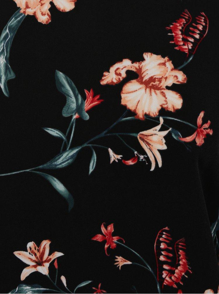 Černá květovaná halenka se stojáčkem VILA Mabel
