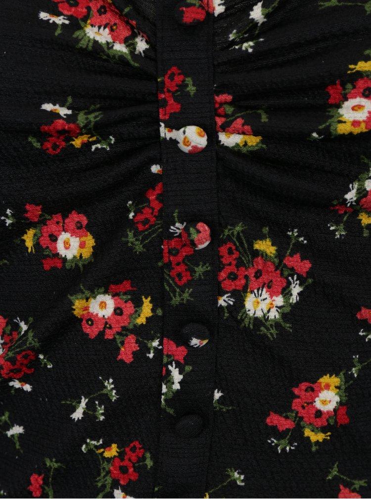 Černý květovaný crop top s volánem Miss Selfridge