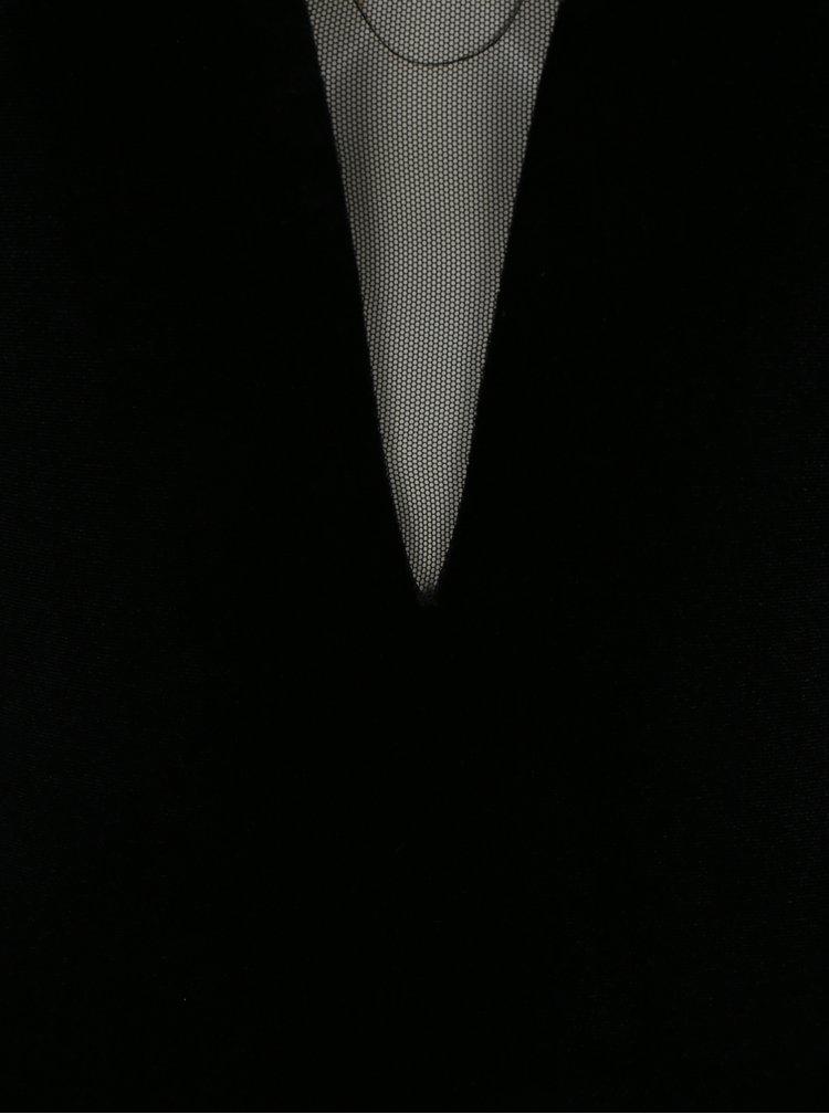 Černé sametové body s průsvitnými detaily Miss Selfridge