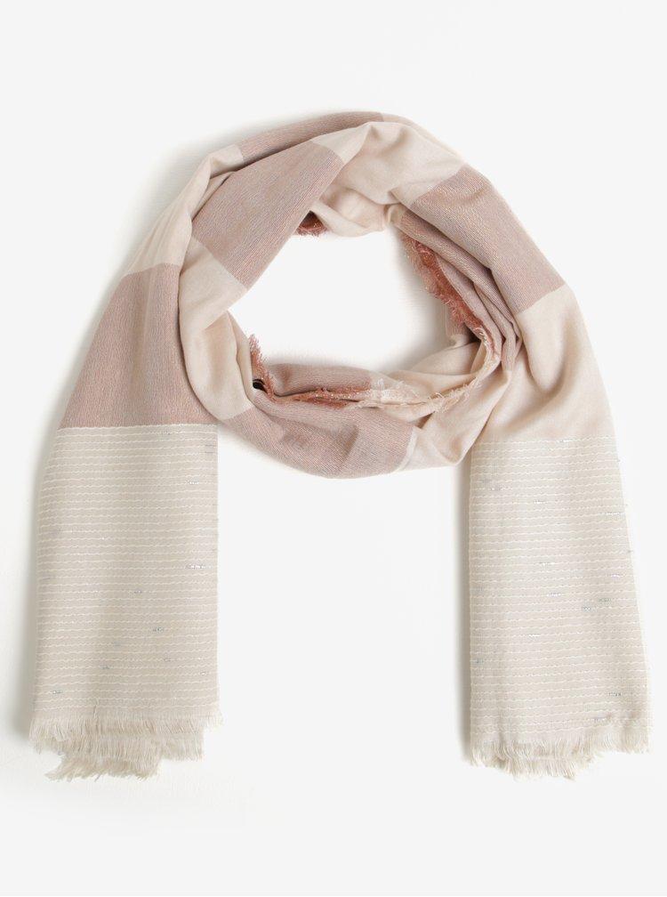 Růžovo-béžový pruhovaný šátek Pieces Alina