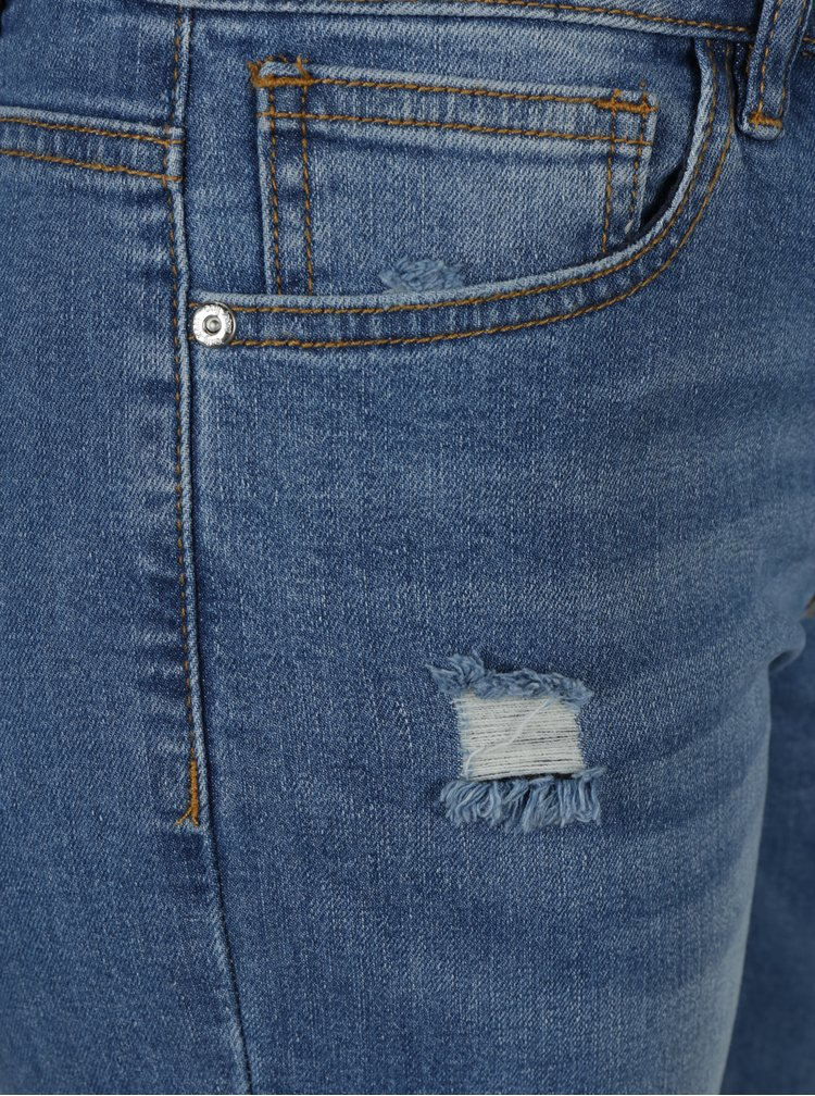 Světle modré zkrácené skinny fit džíny s potrhaným efektem ONLY Cille