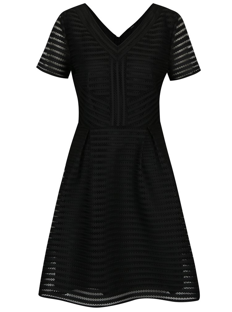 Čierne pruhované perforované šaty s véčkovým výstrihom ONLY Puff