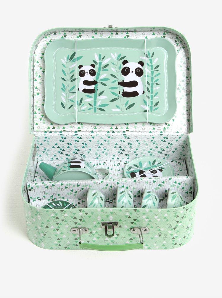 Zelený dětský čajový set s motivem pandy Sass & Belle Aiko Panda