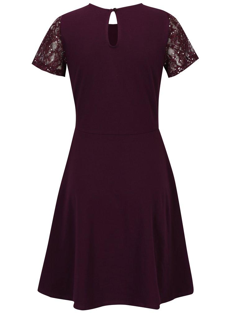 Vínové šaty s flitry Dorothy Perkins