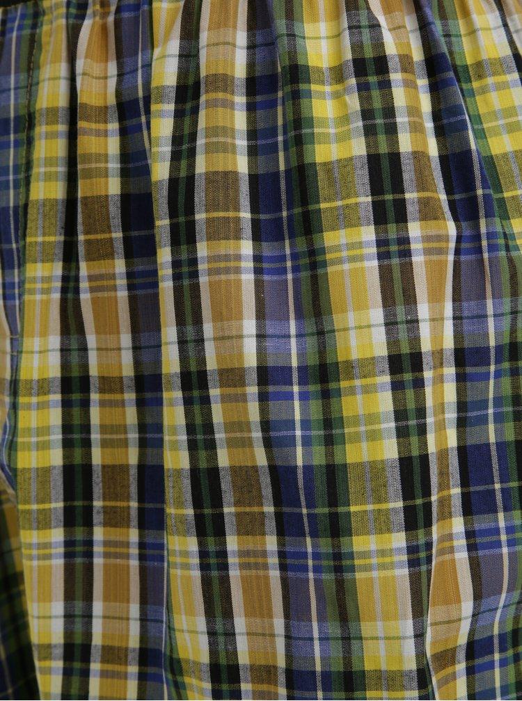 Sada dvou pánských kostkovaných trenýrek v modré a žluté barvě MEATFLY Jukebox