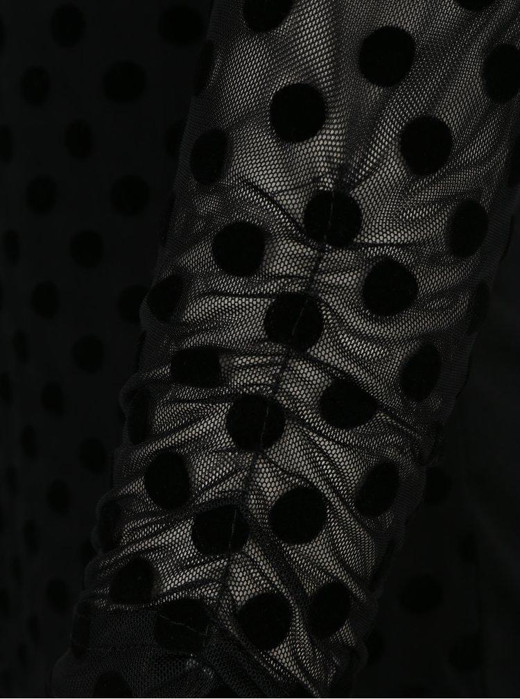 Bluza neagra din plasa cu model buline catifelat Dorothy Perkins