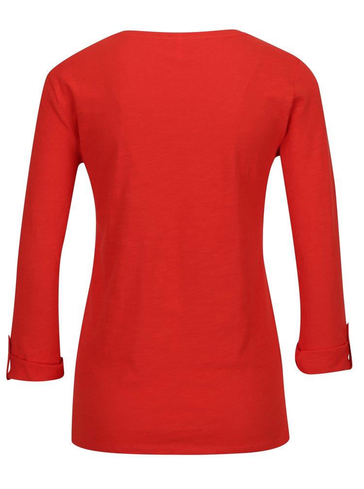 Červené tričko s 3/4 rukávem ONLY Bone