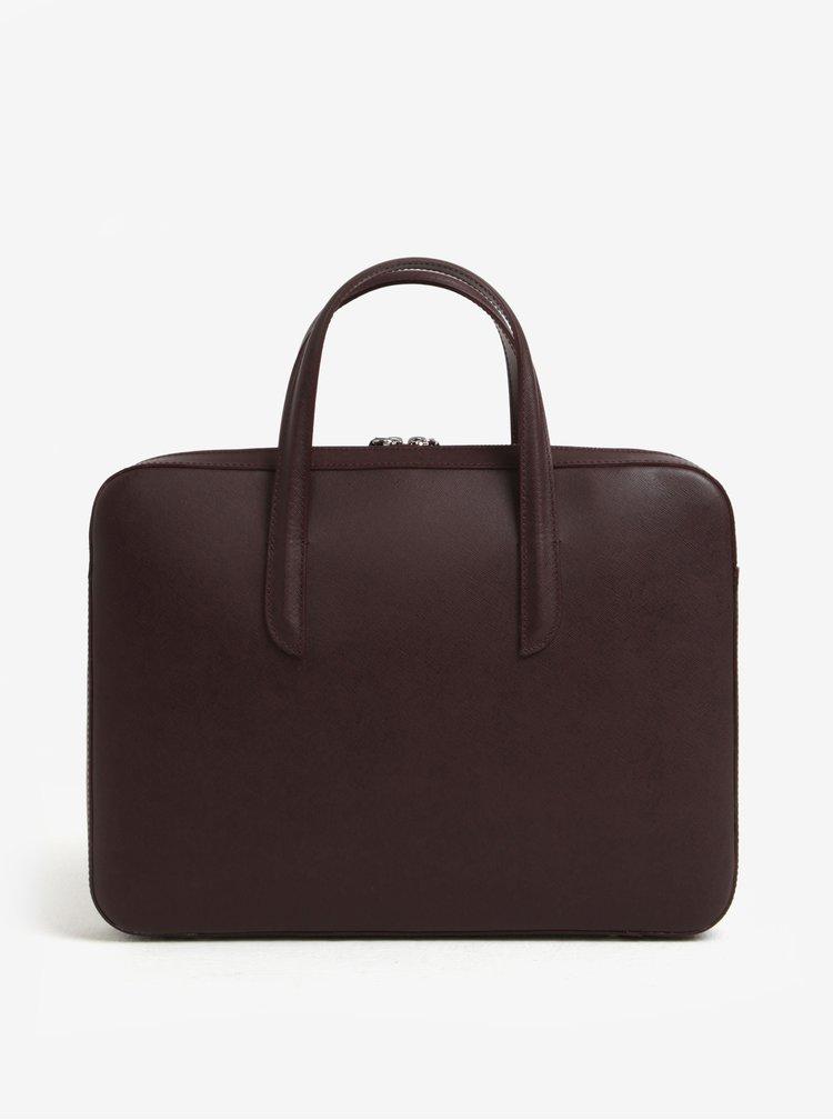 Vínová dámska kožená taška na notebook ELEGA Lester