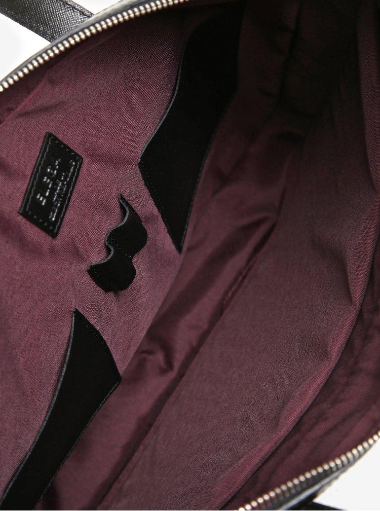 Černá dámská kožená taška na notebook ELEGA Lester