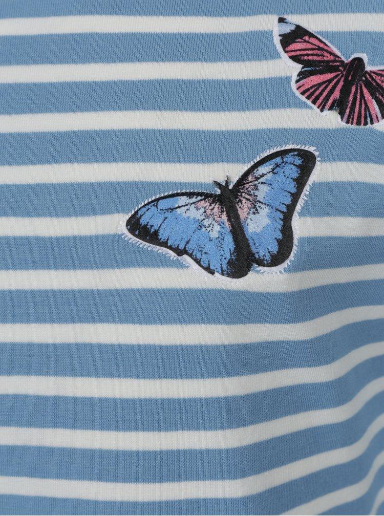Krémovo-modré pruhované šaty name it Kasja