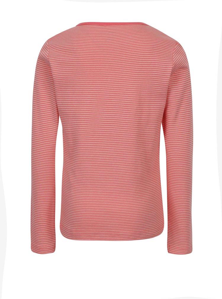 Růžovo-červené pruhované holčičí tričko s dlouhým rukávem name it Verit