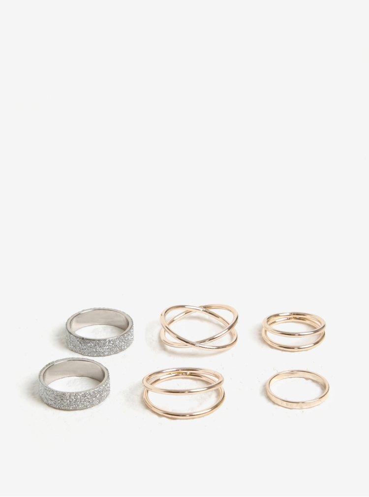 Set de 6 inele argintii - MISSGUIDED