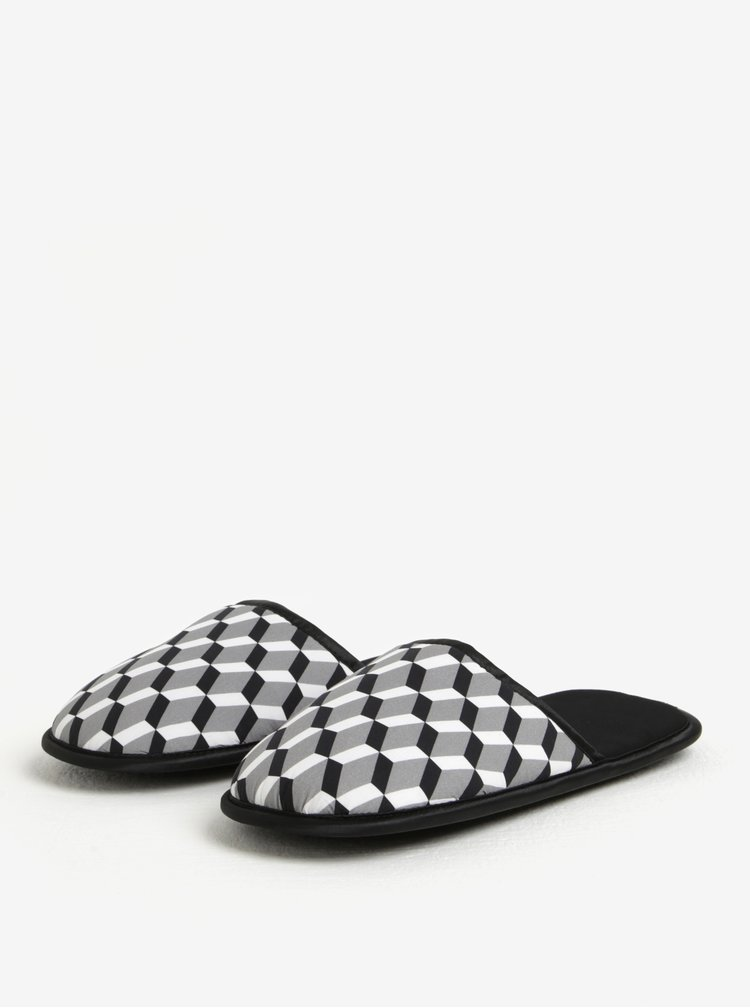 Černo-bílé pánské vzorované papuče Slippsy Black sheep