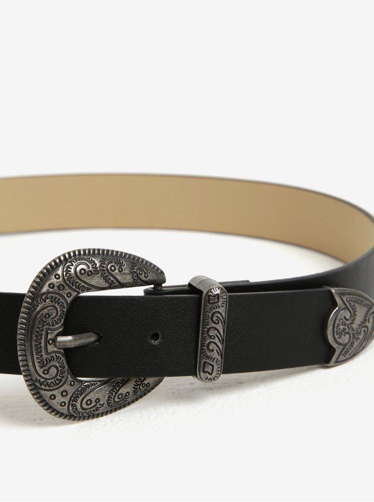 Černý koženkový pásek s přezkami MISSGUIDED