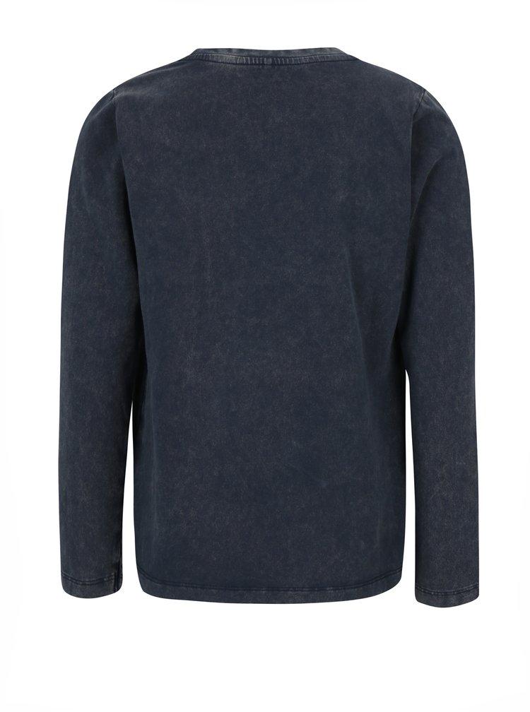 Tmavě modré klučičí tričko s potiskem a dlouhým rukávem name it Kolaka