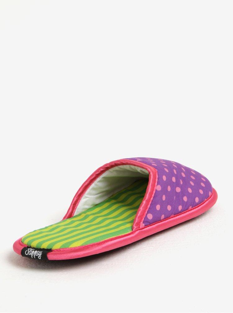 Fialové puntíkované dámské papuče Slippsy Princess