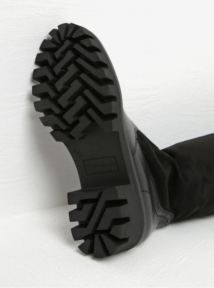 Černé vysoké kozačky na platformě a podpatku v semišové úpravě Tamaris
