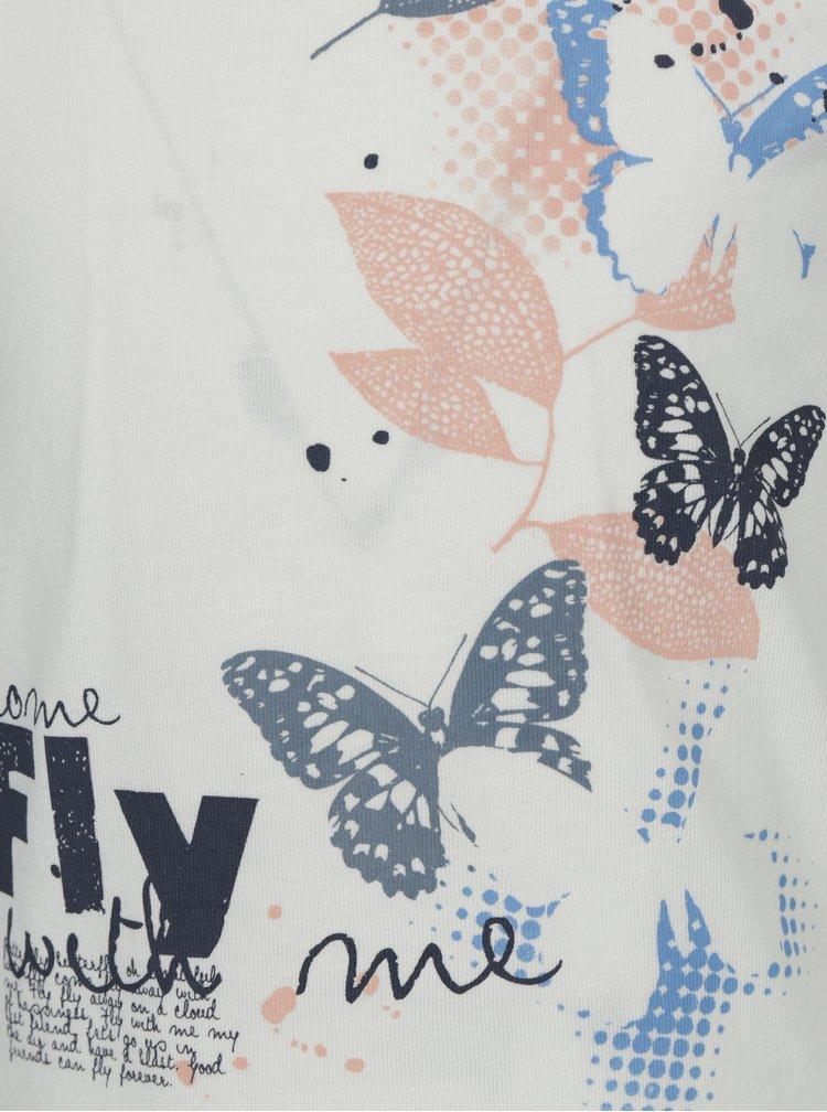 Krémové holčičí tričko s potiskem a dlouhým rukávem name it Veen