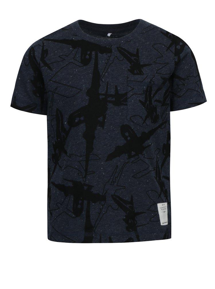 Tmavě modré klučičí tričko s motivem letadel name it Kasper