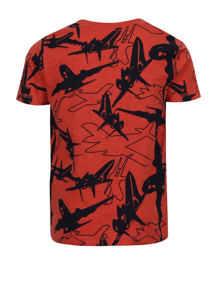 Cihlové klučičí tričko s motivem letadel name it Kasper