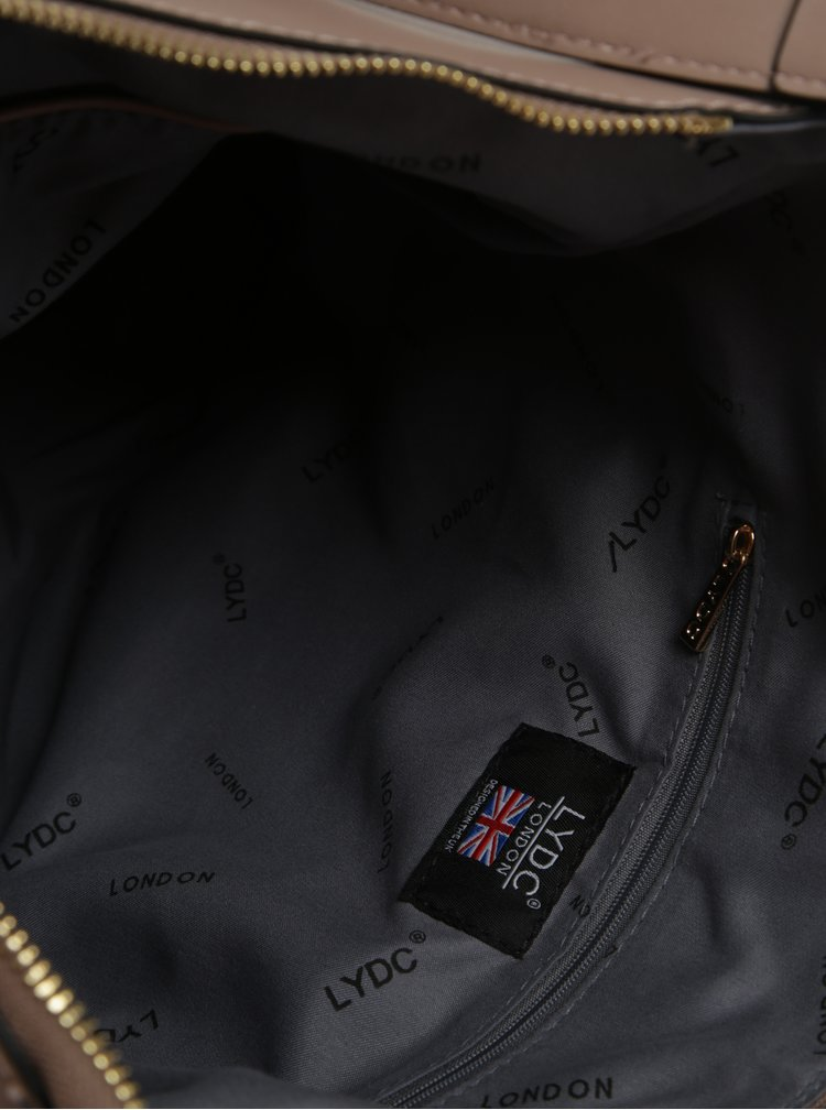 Béžová kabelka s nášivkami LYDC
