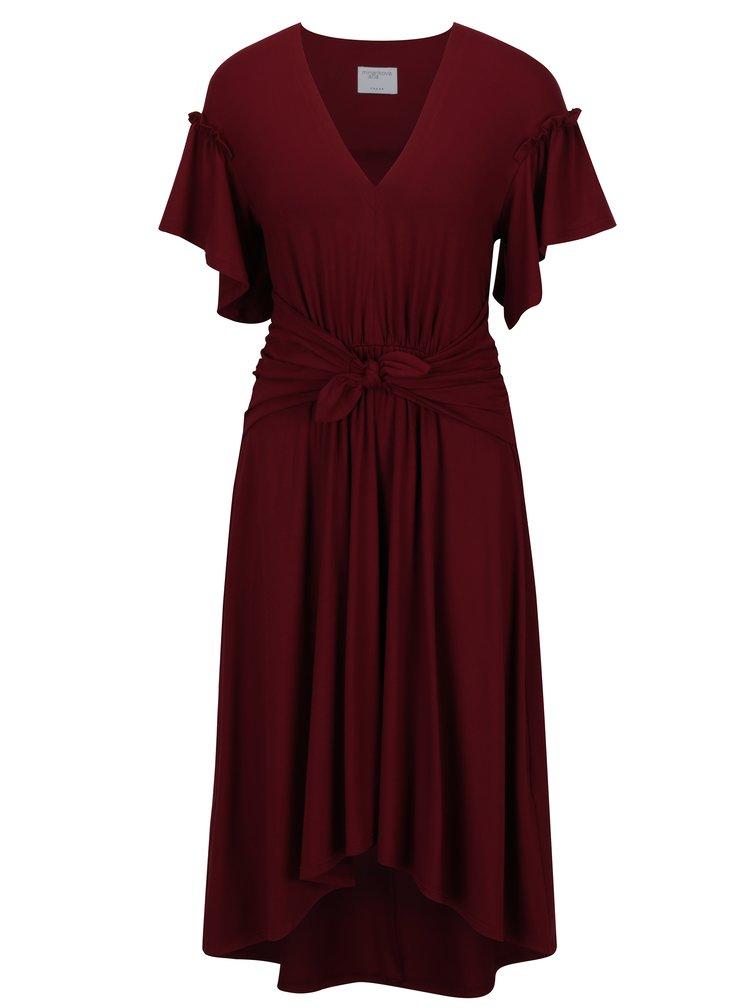 Vínové šaty s řasením a mašlí Jana Minaříková