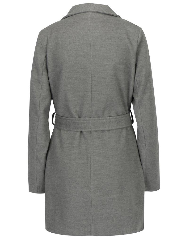 Světle šedý kabát se zavazováním v pase ZOOT