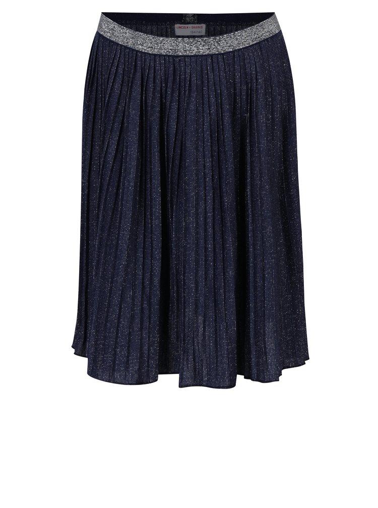 Tmavě modrá holčičí třpytivá plisovaná sukně 5.10.15.
