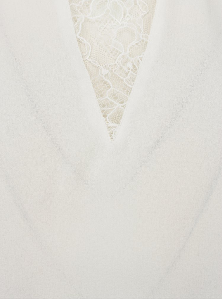 Krémová halenka s krajkovým krátkým rukávem VERO MODA Nile