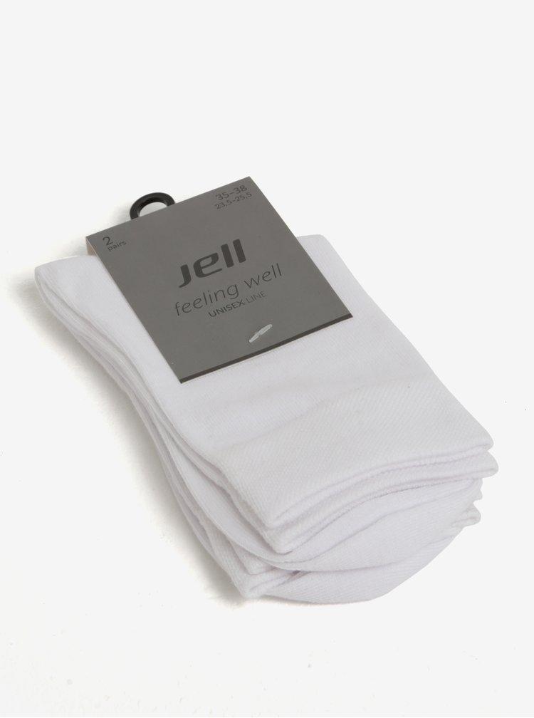 Sada dvou párů unisex ponožek v bílé barvě JELL