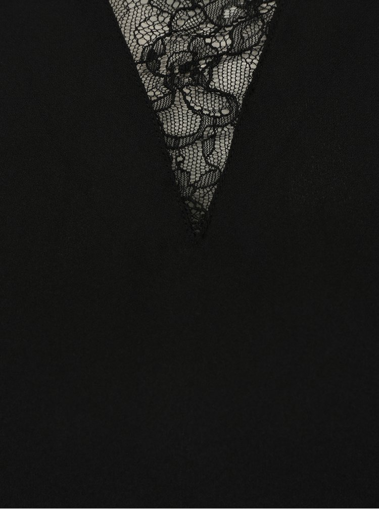 Černá halenka s krajkovým krátkým rukávem VERO MODA Nile