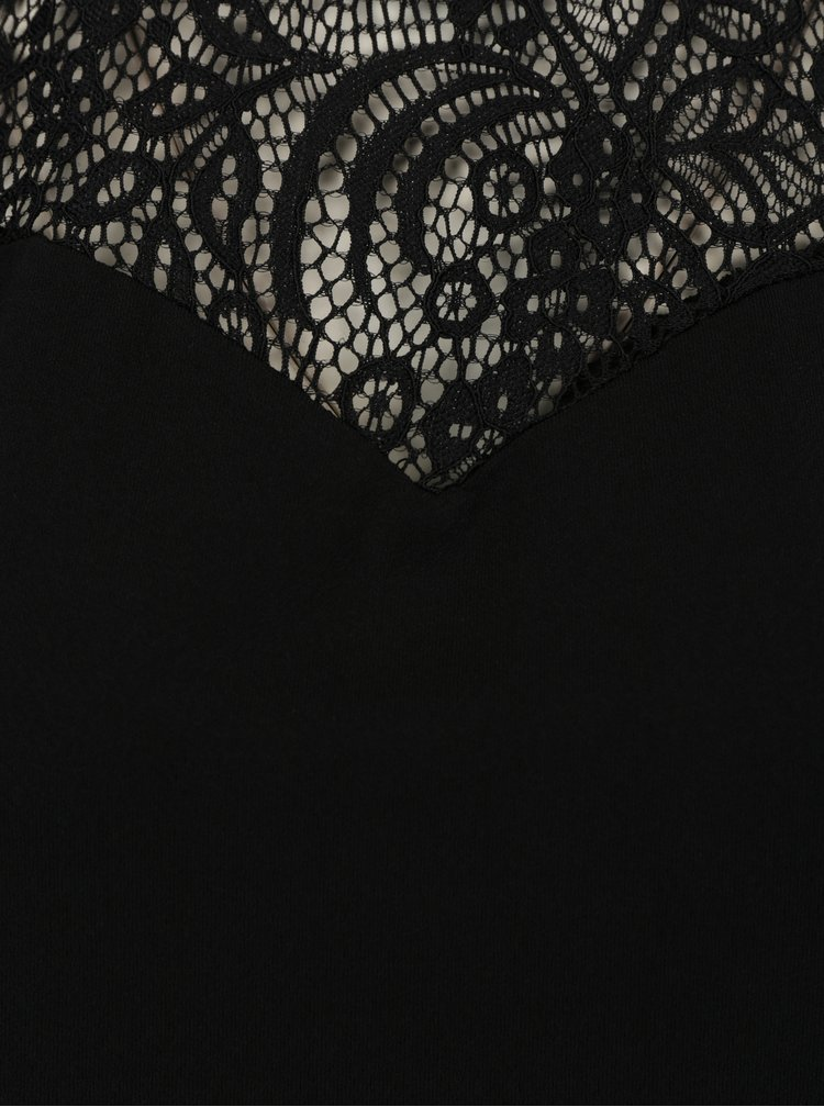 Černý top s krajkovým sedlem VERO MODA Alberta