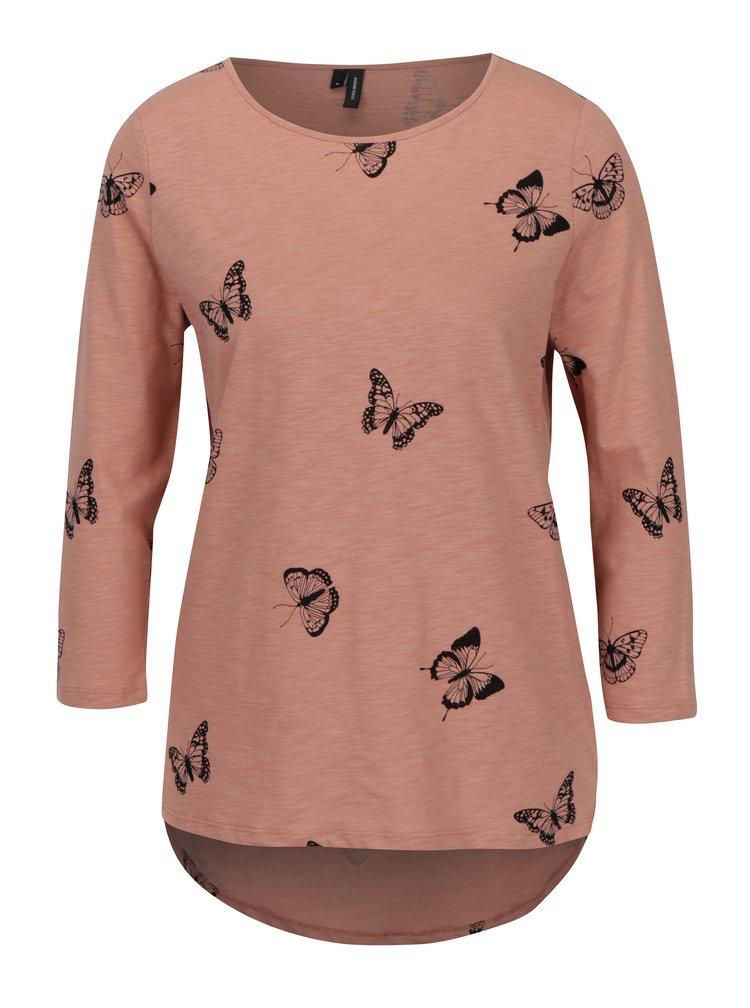 Starorůžové tričko s motýly VERO MODA Malka