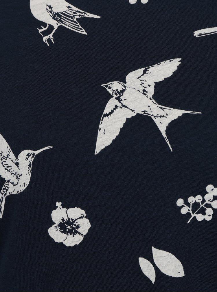 Bluza asimetrica bleumarin cu print si maneci 3/4 VERO MODA Malka