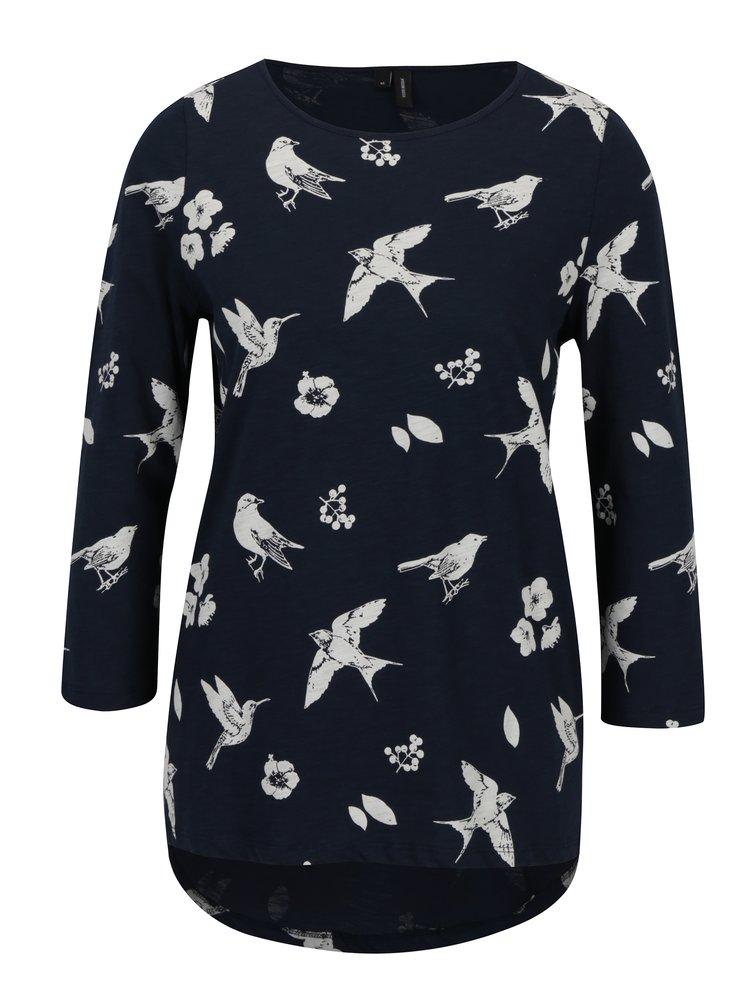 Tmavě modré tričko s ptáky VERO MODA Malka