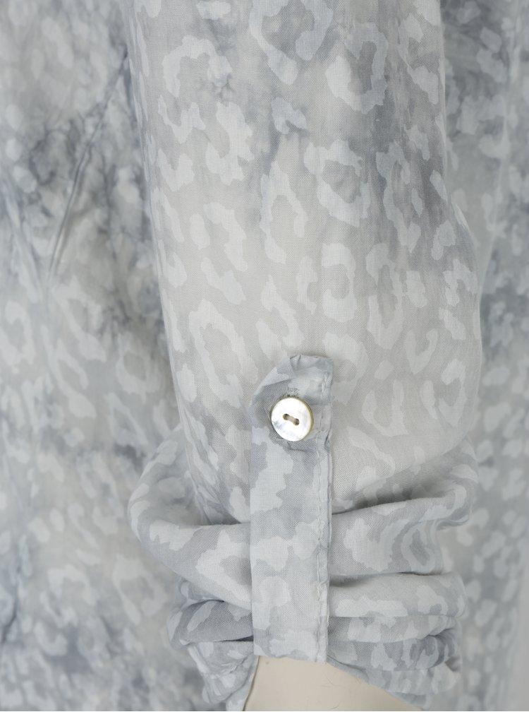 Světle šedá vzorovaná halenka s flitry Madonna