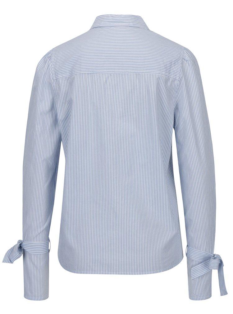 Modro-bílá pruhovaná košile se zavazováním na rukávech VERO MODA Juljane