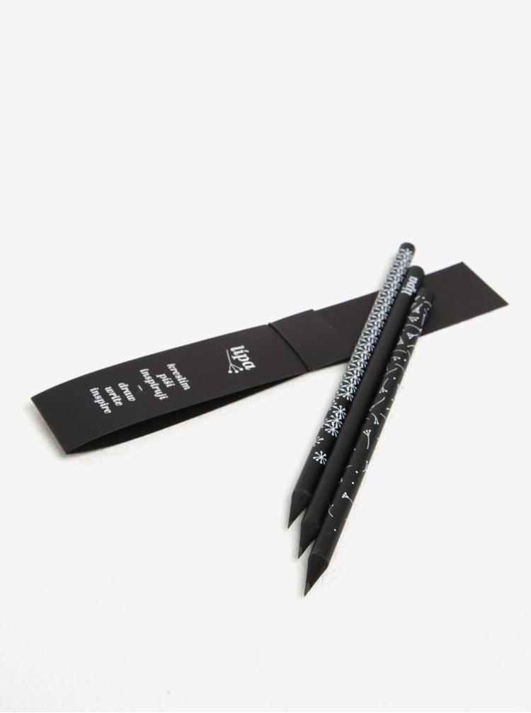 Sada tří tužek v černé barvě Lípa