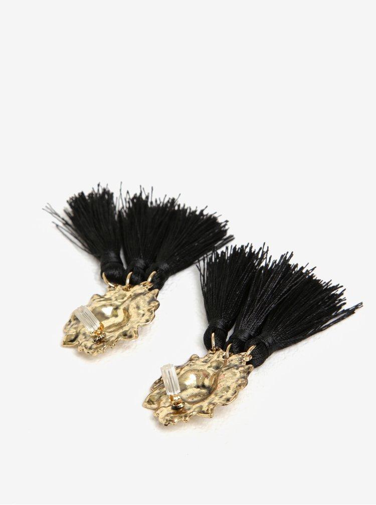 Cercei negru & auriu in forma de leu cu franjuri VERO MODA Lion