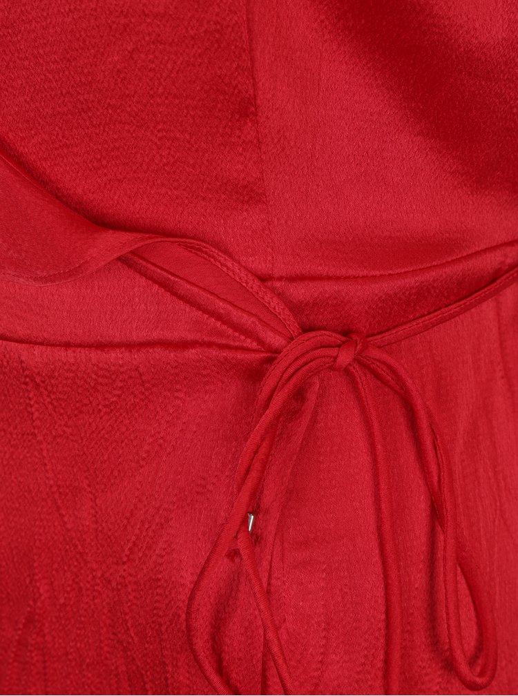 Červená zavinovací halenka s volánky VERO MODA Henna
