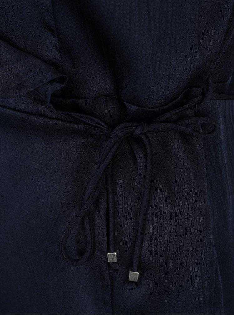 Tmavě modrá zavinovací halenka s volány VERO MODA Henna
