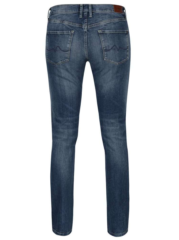 Modré dámské slim džíny s vyšisovaným efektem Pepe Jeans Victoria