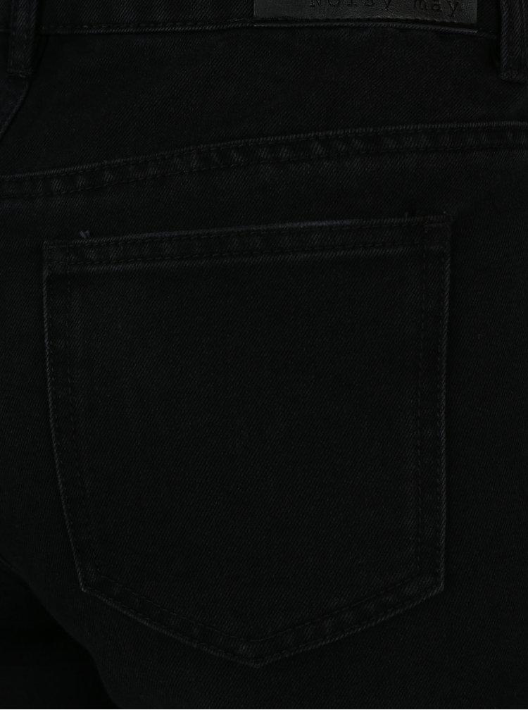 Černé zkrácené džíny se síťovanými punčochovými kalhotami 2v1 Noisy May Taylor