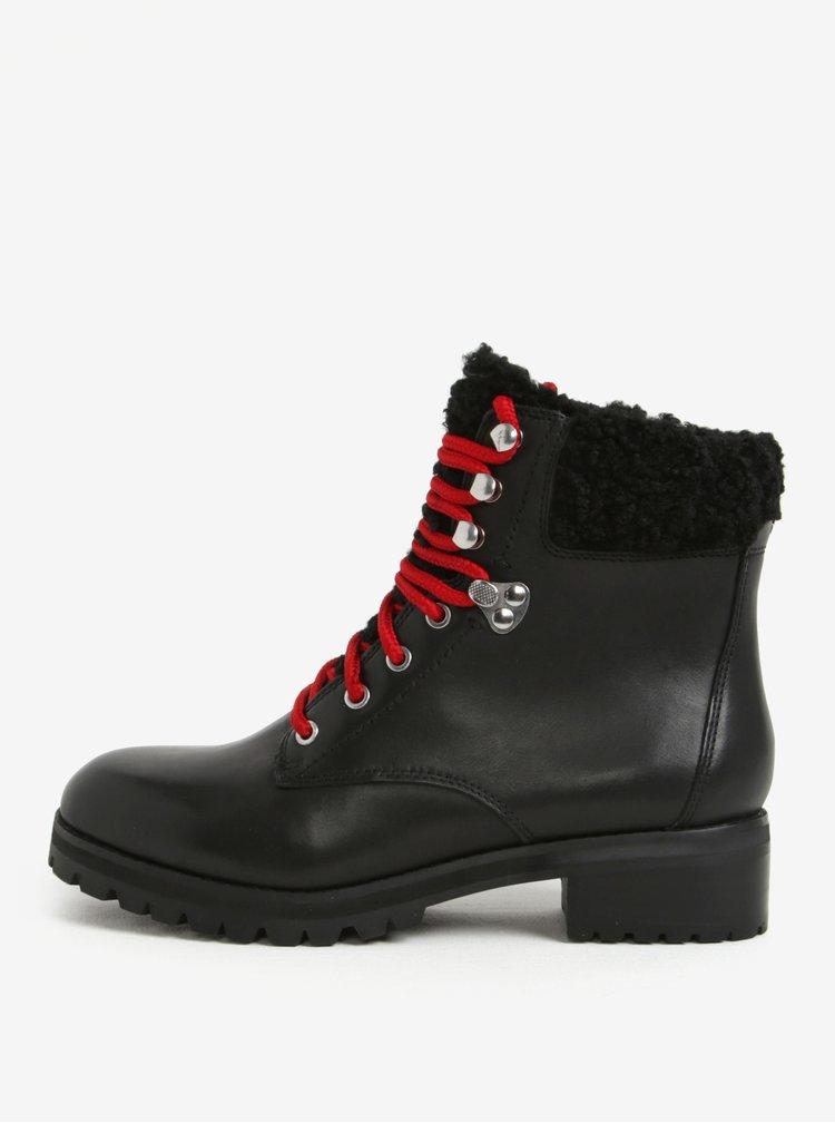 Černé dámské kožené kotníkové boty s umělým kožíškem ALDO Uleladda